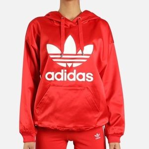 ADIDAS TREFOIL WOMENS HOODIE RED SATIN NWT SIZE M